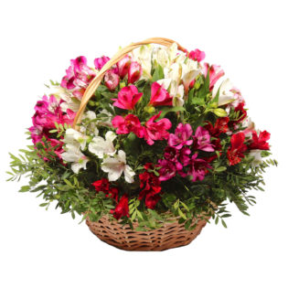 Цветы в корзинке «Краски альстромерий»